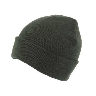 KNITTED SKI HAT with Turn Up in Green.