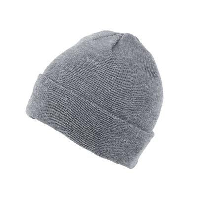 KNITTED SKI HAT with Turn Up in Heather Grey.