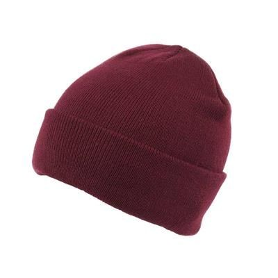 KNITTED SKI HAT with Turn Up in Maroon.