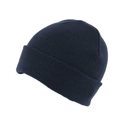 KNITTED SKI HAT with Turn Up in Navy Blue.