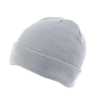 KNITTED SKI HAT with Turn Up in Pale Grey.
