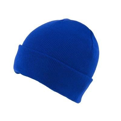 KNITTED SKI HAT with Turn Up in Royal Blue.