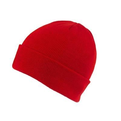 KNITTED SKI HAT with Turn Up in Red.