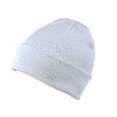 KNITTED SKI HAT with Turn Up in White.