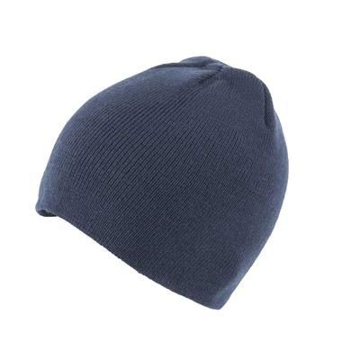 KNITTED SKI HAT WITHOUT TURN UP in Navy Blue.