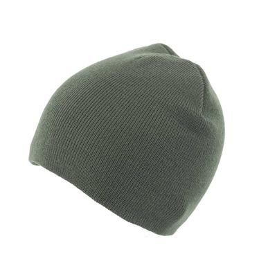 KNITTED SKI HAT WITHOUT TURN UP in Olive.