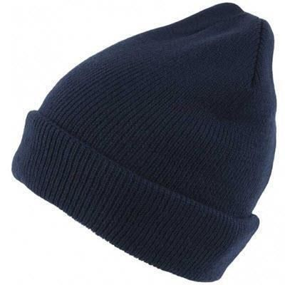 LINED KNITTED SKI HAT in Navy Blue.