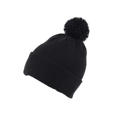 KNITTED ACRYLIC BEANIE HAT in Black.