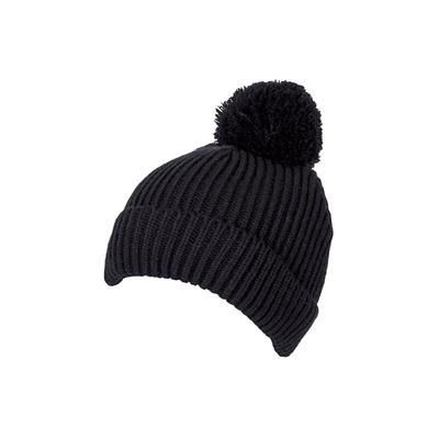 100% LOOSE KNIT ACRYLIC RIBBED BOBBLE BEANIE HAT in Black with Turn-up.