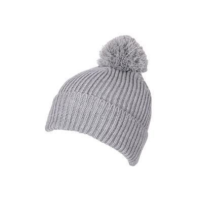100% LOOSE KNIT ACRYLIC RIBBED BOBBLE BEANIE HAT in Grey with Turn-up.