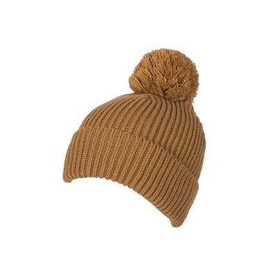 100% LOOSE KNIT ACRYLIC RIBBED BOBBLE BEANIE HAT in Khaki with Turn-up.