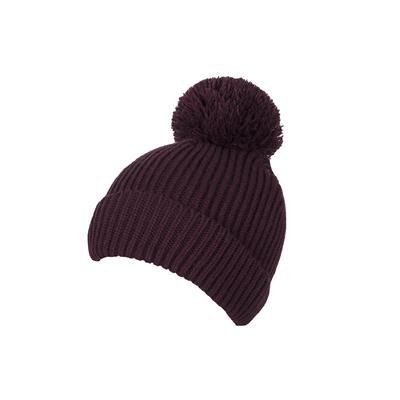 100% LOOSE KNIT ACRYLIC RIBBED BOBBLE BEANIE HAT in Maroon with Turn-up.