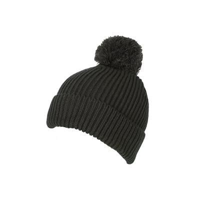 100% LOOSE KNIT ACRYLIC RIBBED BOBBLE BEANIE HAT in Olive Green with Turn-up.