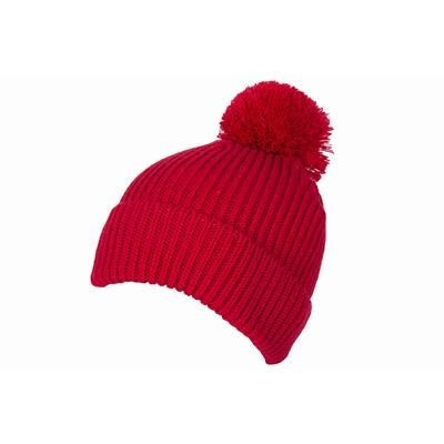 100% LOOSE KNIT ACRYLIC RIBBED BOBBLE BEANIE HAT in Red with Turn-up.