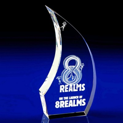 CRYSTAL GLASS BREEZE PAPERWEIGHT OR AWARD.