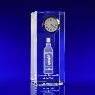 CRYSTAL GLASS CLOCK TOWER PAPERWEIGHT OR AWARD.