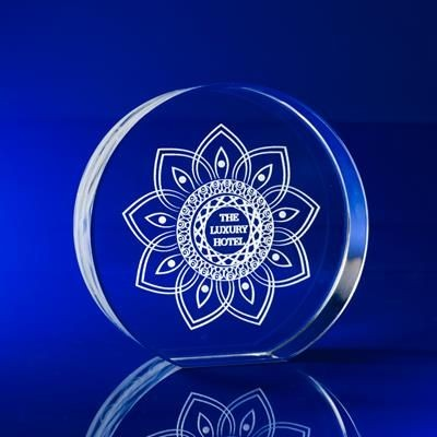 CRYSTAL GLASS ROUND DISC PAPERWEIGHT OR AWARD.