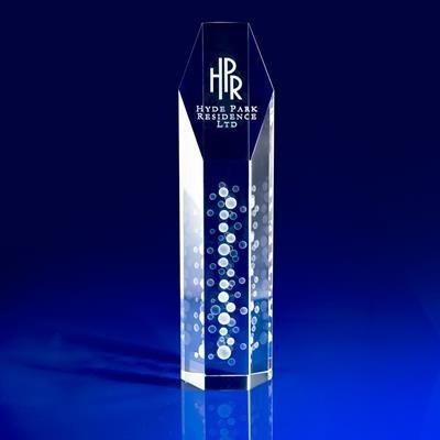 CRYSTAL GLASS HEXAGON AWARD OR TROPHY AWARD.