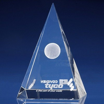 CRYSTAL GLASS PYRAMID PAPERWEIGHT OR AWARD.