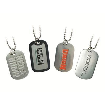 EMBOSSED PRINTED DOG TAG.