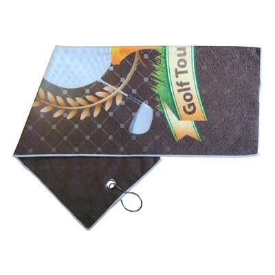 PRINTED MICROFIBRE GOLF TOWEL.