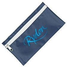 NYLON PENCIL CASE in Navy Blue with White Zip.