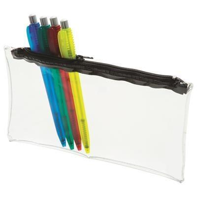 CLEAR TRANSPARENT PVC PENCIL CASE with Black Zip.
