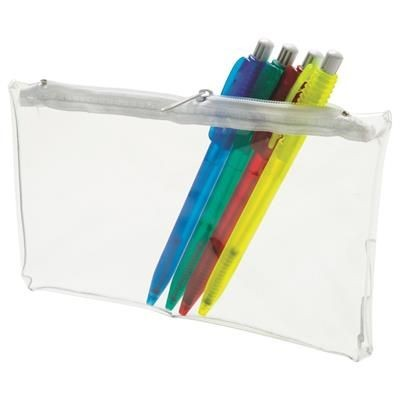 CLEAR TRANSPARENT PVC PENCIL CASE with White Zip.
