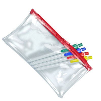 CLEAR TRANSPARENT PVC PENCIL CASE with Red Zip.