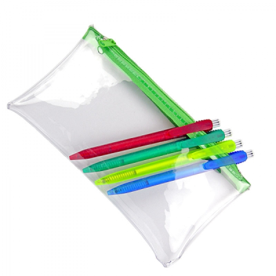 CLEAR TRANSPARENT PVC PENCIL CASE with Green Zip.