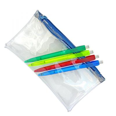 CLEAR TRANSPARENT PVC PENCIL CASE with Blue Zip.