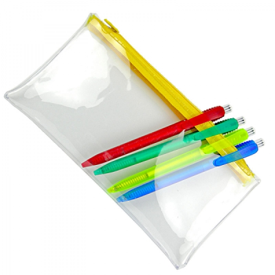 CLEAR TRANSPARENT PVC PENCIL CASE with Yellow Zip.