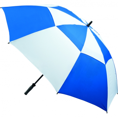 VENTED GOLF UMBRELLA in Royal Blue & White.