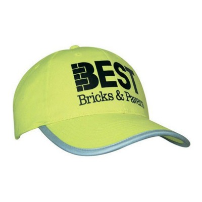 LUMINESCENT SAFETY BASEBALL CAP with Reflective Trim.