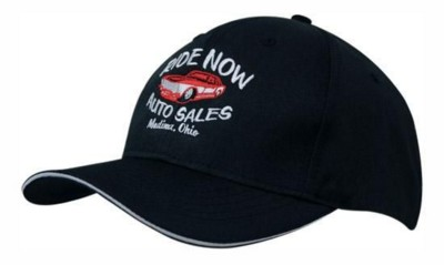 BREATHABLE POLY TWILL BASEBALL CAP with Sandwich Trim.