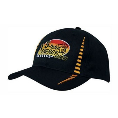 BREATHABLE POLY TWILL BASEBALL CAP with Small Check Patterning.
