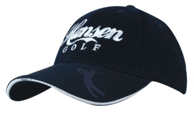 BRUSHED HEAVY COTTON BASEBALL CAP with Embossed PU Peak.