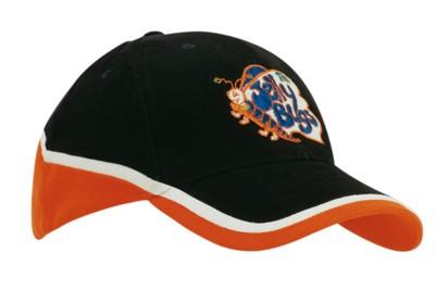BRUSHED HEAVY COTTON TRI-COLOURED BASEBALL CAP.