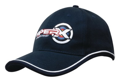 BRUSHED HEAVY COTTON BASEBALL CAP with Piping on Peak & Crown.