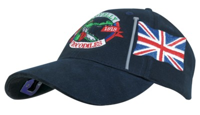 BRUSHED HEAVY COTTON BASEBALL CAP with Bottle Opener & Union Jack Flag Design.