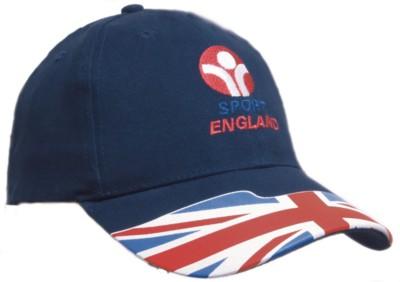 BRUSHED COTTON BASEBALL CAP with Waving Flag Union Jack on Peak.