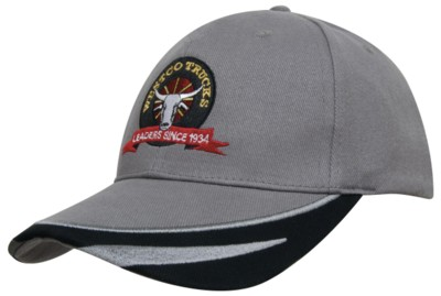 BRUSHED HEAVY COTTON BASEBALL CAP with Peak Trim Embroidered.