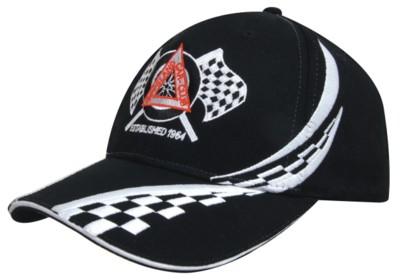 BRUSHED HEAVY COTTON BASEBALL CAP with Swirling Checks & Sandwich Peak.