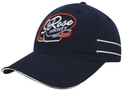 MICROFIBRE SPORTS BASEBALL CAP with Piping & Sandwich Peak.