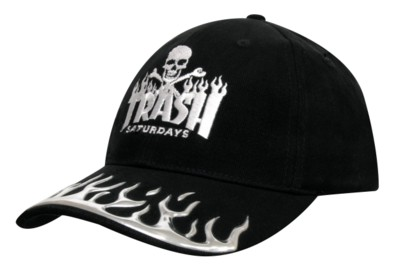 BRUSHED HEAVY COTTON with Liquid Metal Flame Baseball Cap.