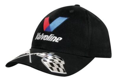 BRUSHED HEAVY COTTON BASEBALL CAP with Liquid Metal Flag Design on Peak.