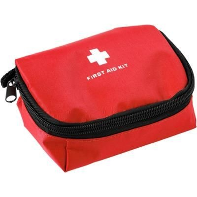 FIRST AID KIT in Red.
