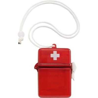 WATERPROOF FIRST AID KIT in Plastic Case with Carry Cord in Red.