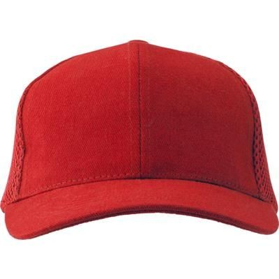 HEAVY BRUSHED COTTON TWILL BASEBALL CAP in Red.