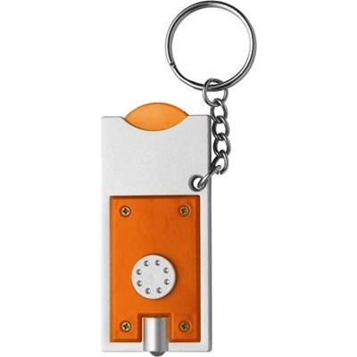 PLASTIC KEYRING TORCH LIGHT & TROLLEY COIN in Silver & Orange.
